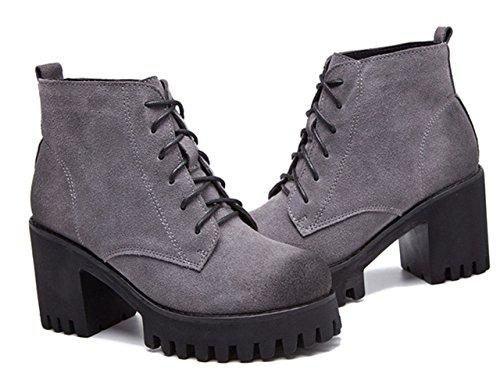 Damen Sneakers Rundzehen Plateau Blockabsatz Retro Winter Stiefeletten Grau