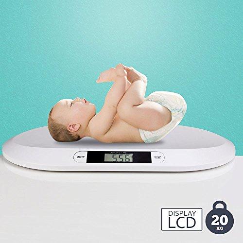 BAKAJI Bilancia Elettronica Pesa Bambini Neonati Con Display Digitale LCD Bilancia Pesa Neonato 20 Kg/44 Spegnimento Automatico e Tara Colore Bianco
