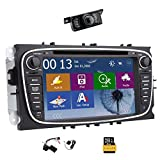 Win8 UI-Touchscreen GPS-Navigation Autoradio-DVD-Player Stereoanlage für Ford Focus Mondeo S-max Galaxy mit CANBUS NAVI BT MIC FM AM USB SD Inklusive Backup-Kamera-LED + 8GB Karte Karte