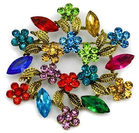 Elixir77UK Large Antique Gold Colour Leaf and Flower Bouquet Pin Brooch With Multicolored Crystals