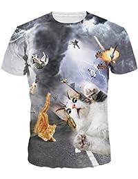 Jiayiqi Femmes Hommes Casual 3D Chat Imprimé T-Shirts Manches Courtes Tops Tees