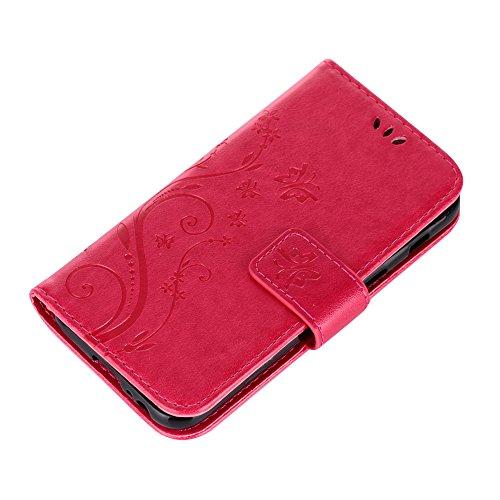 UKDANDANWEI Apple iPhone 7 Hülle ,Muster Flip Wallet Case,Lanyard Strap Leather Stand Handyhülle Portable Lederhülle Anti-Scratch [ID Card Slot] Magnetverschluss Soft Silikon Cover TascheFolio Handyta Rot