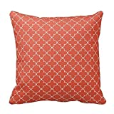 vintage cap Terracotta Red and White Decorative Cushion Covers Throw Pillow Case Moroccan Quatrefoil Pattern Print Square Two Sides 18'x 18' Inch