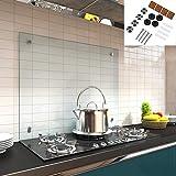 Melko Spritzschutz Herdblende aus Glas, für Küche, Herd, Fliesen, 6 mm ESG Sicherheitsglas, Küchenrückwand, inkl. Schrauben, 100 x 60 cm, Klarglas