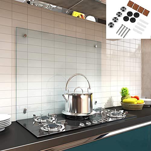 Melko Spritzschutz Herdblende aus Glas, für Küche, Herd, Fliesen, 6 mm ESG Sicherheitsglas, Küchenrückwand, inkl. Schrauben, 90 x 60 cm, Klarglas