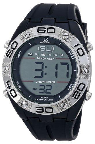 Joshua & Sons uomo JS66BK digitale orologio in metallo con banda in silicone nero