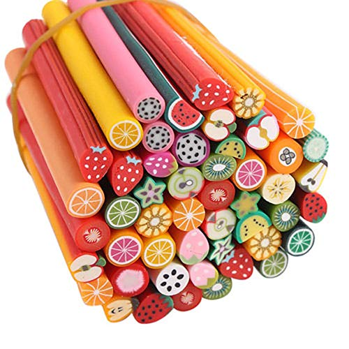 Packung mit 50 Netten Nagel-Kunst-Stöcken Sticks Maniküre Fimo Canes 3D-Frucht-Muster Scheiben perfekt für DIY, Mobiltelefon-Dekoration, Nagel-Kunst-Dekoration (Frucht) -