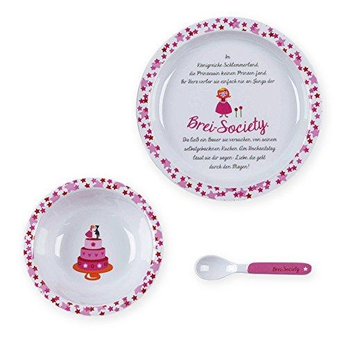 kjomizo - Geschichten-Geschirr weiß pinkes Kinder Geschirrset mit Teller Schüssel Löffel aus Melamin mit einer lustigen Geschichte von der Prinzessin in der Breisociety im Geschenkkarton
