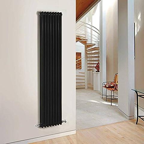 Hudson Reed - Radiateur Vertical Noir - Gamme Windsor - 180 X 38,3 X 10 CM 1558 Watts