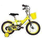 Vélos enfan DUO Bicyclette pour enfants Poussette de bébé 12/14/16/pouces 3-6-8-10 ans vélo de fille de fille Coloré multicolore (Couleur : Le jaune, taille : 14 inch)