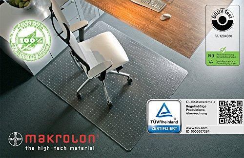Bodenschutzmatte XXL 120 x 200 cm, aus transparenten Makrolon®, Schutzmatte mit Ankernoppen für Teppichböden, 8 weitere Größen wählbar