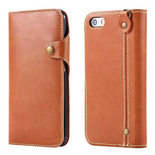 "MOONCASE iPhone SE/iPhone 5s/iPhone 5 Coque, Card Slots Faux Cuir Flip Portefeuille Housse Flexible TPU Antichoc Protection Étuis Case pour iPhone 5/iPhone 5s/iPhone SE 4.0"" Noir Marron Clair"