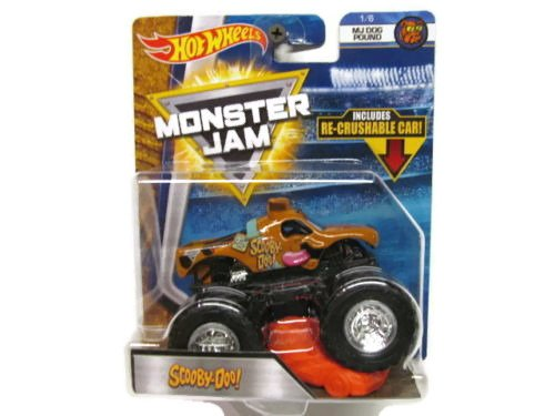 SCOOBY-DOO HOT WHEELS MONSTER JAM TRUCK MJ DOG POUND 1/6 w/ RE-CRUSHABLE CAR 2018 (Spielzeug Scooby Doo-monster)