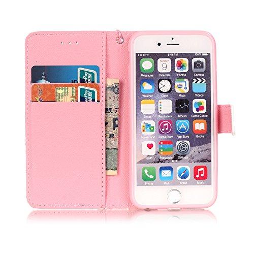 iPhone 6/6S Hülle, PU Leder Hülle für Ledertasche Schutzhülle Case[Stand Feature] Flip Case Cover Etui mit Karte Slots Hülle für Apple iPhone 6/6S (4.7 Zoll) Eule