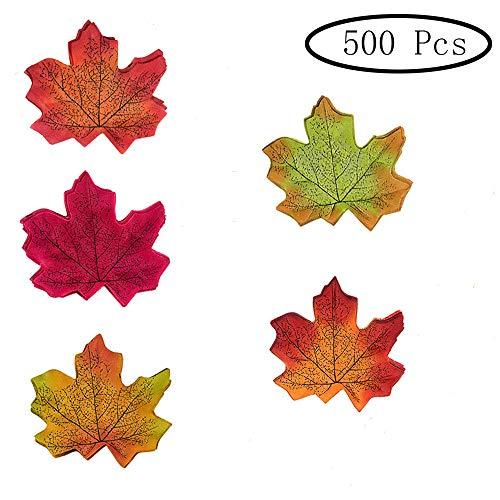 Inherited 500 pezzi 5 colori assortito foglie d'acero autunno seta finte foglia di caduta artificiale, decorazioni autunnali, matrimoni, eventi e decorazioni per esterni in foglia d'acero