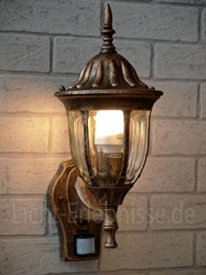 Antik-Goldene Außenwandleuchte mit Bewegungsmelder 8370 Wandlampe Hoflampe Außenleuchte Sensor