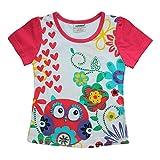 Ajiduo Mädchen Kinder T-Shirt Flower Love mit Strass-Steine Größe 116 (5-6 Jahre)