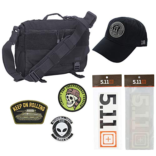 5.11 Kits Rush Delivery Mike Tactical Messenger Bag, Hat, Patches, and Decals Set - Military Tactical Pack - Black Symbol Stealth Hat