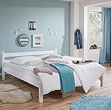 Lomado Einzelbett massiv weiß lackiert ● Liegefläche 140x200cm ● Jugendbett Gästebett Einzelbett Doppelbett