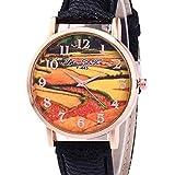Frauen Uhren,Moeavan Damen Armbanduhren COOKI Räumungs Damen Uhren Damenuhren im Angebot Günstige Leder Uhr (Schwarz)