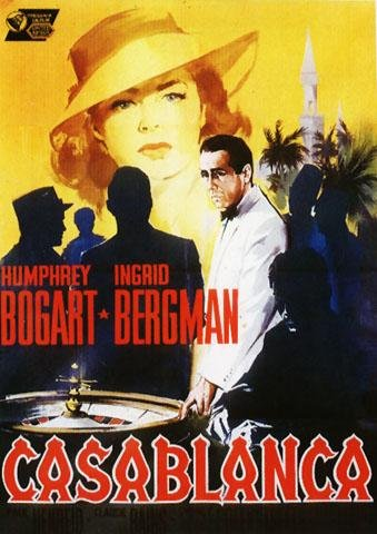 Casablanca–COL Vertikal Italienisches Große PAPIER Poster etwa 100x 70cm größten Filme Film Sammlung von Michael CURTIZ. Starring Humphrey Bogart, Ingrid Bergman, Paul Henreid.
