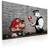 murando Quadro 120x80 cm - 1 Pezzo Stampa su Tela in TNT XXL Immagini Moderni Murale Fotografia Grafica Decorazione da Parete Banksy Street Art Mario h-B-0080-b-a