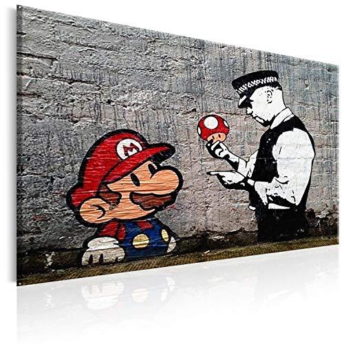 murando Cuadro 120x80 cm - Banksy impresión en Material Tejido no Tejido artística fotografía Imagen gráfica decoración de Pared Street Art Mario h-B-0080-b-a