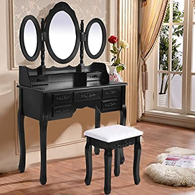 Costway Shabby Chic Dressing Table Vanity Makeup Desk W/ 7 Drawers, 3 Mirrors And Stool Black and White - low-cost UK light shop.