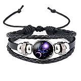 12 Sternzeichen Armband Glas Cabochon Horoskop Anhänger Silber Armschmuck Herren Armbänder Verstellbare Kette (Waage)