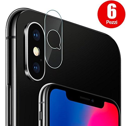 Pellicola Fotocamera iPhone X, [6 Pezzi] G-Color Pellicola Sottile Vetro Temperato Fotocamera Posteriore, Antigraffio [Facile da Installare] Trasparente Pellicola Vetro Lente della Fotocamera per iPhone X