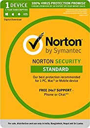 Norton Security Standard - 1 Device 1 Year  (Total Security for PC, Mac, Android, IOS) - Email Delivery in 2 H