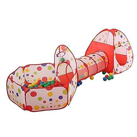 Vinallo 3-en-1 Tente de Jeu pour Enfants Maison et Pop Up Tunnel Tente Piscine à Boules avec Tunnel Maison de Jouet et Piscine Facile Pliant