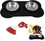 Niceeshop(TM) Dog Bowls Stainless Steel with No Spill Non-Skid Silicone Mat 30.7ounce Pet Bowls and Niceeshop Brush