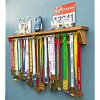 Medal Hanger Holder - Trophy Shelf Display Rack For Running Race Trophies. Gift for runners marathon gymnastics triathlon football ironman gift for runners