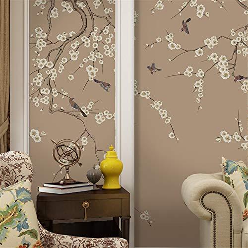 WEMUR Neue chinesische TV Hintergrund Wand Papier Wandtuch Hand bemalt Plum Schlafzimmer klassische Blume und Vogel Wallpaper Wandbild, 300X210 CM (118,1 By 82,7 In) -