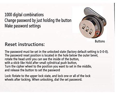 Liuer 3 Zahlen Digital für Schrank Schrank Schublade Briefkasten Code Zahlenschloss,ohne Schluessel,Schloss Schrank Mechanische Verriegelung Passwort Code,1pcs(Silber) - 6