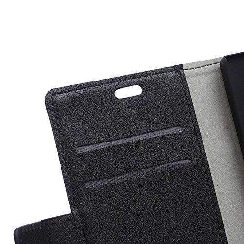 Solid Color Kas Textur Muster Leder Schutzhülle Case Horizontal Flip Stand Case mit Kartennuten für Huawei P8 LITE ( Color : Blue , Size : Huawei P8 LITE ) Black