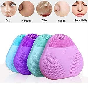 GOPW – Cepillo limpiador facial de silicona mini USB para lavar la cara, cepillo de limpieza facial de silicona…