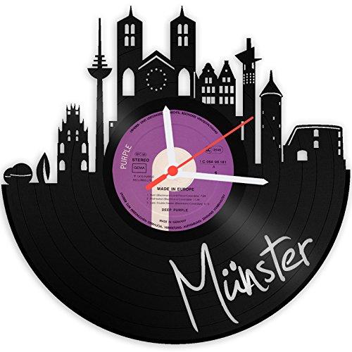 GRAVURZEILE Wanduhr aus Vinyl Schallplattenuhr Skyline Münster Upcycling Design Uhr Wand-Deko Vintage-Uhr Wand-Dekoration Retro-Uhr Made in Germany