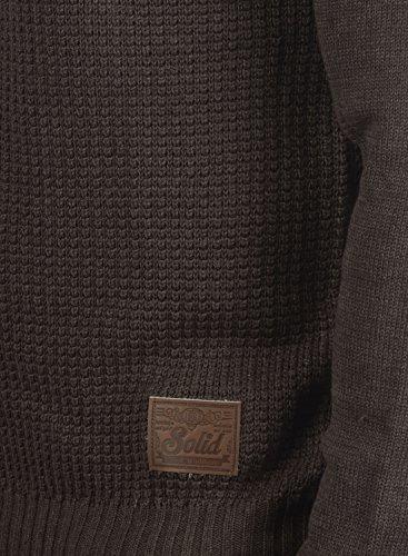 SOLID Terrance Herren Strickpullover Feinstrick Pulli mit Rundhals-Ausschnitt aus hochwertiger Baumwollmischung Meliert Coffee Bean Melange (8973)