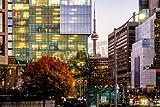 "Leinwand-Bild 120 x 80 cm: ""Colorful modern buildings of downtown Toronto and CN Tower at night - Toronto, Ontario, Canada"", Bild auf Leinwand"