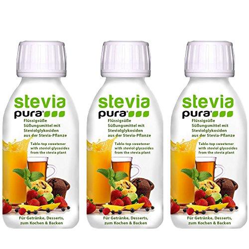 steviapura - Stevia flüssig Tafelsüße 3 x 150ml - OHNE FRUCTOSE - Natürlicher flüssiger Zuckerfreier Zuckerersatz ohne Kalorien, Veganer GMO-freier flüssig Stevia Süßstoff mit Steviolglycosiden aus Stevia Blättern der Steviapflanze -