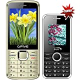 G'Five G9(Gold)+GLX W8 White COMBO OF TWO Basic Feature Mobile Phone With WIRELESS FM & 1 Year Manufacturer Warranty