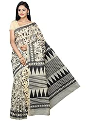 Pavechas Gadwal Cotton Printed Saree - Beige::Black MK3537