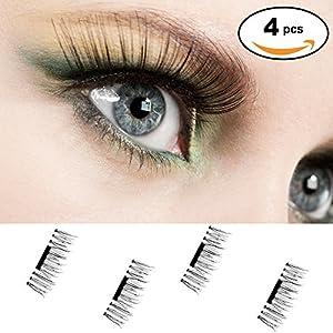Magnétique Faux-cils, 1 Paire 4 Morceaux Mash Eye Lashes 3D Ultra Mince Fink Cils pour Look Naturel Parfait Pour les Profonds et les Ronds
