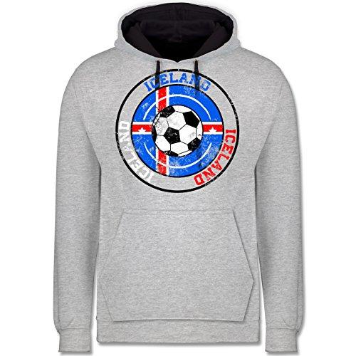 Fußball-WM 2018 - Russland - Iceland Kreis & Fußball Vintage - Kontrast Hoodie Grau meliert/Dunkelblau