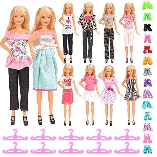 Miunana 30 accessori per barbie dolls bambola: 5 vestiti + 5 abiti pantaloni + 10 pcs scarpe + 10 grucce