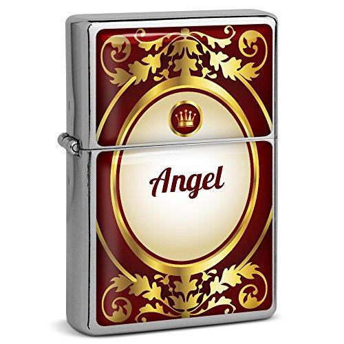 PhotoFancy® - Sturmfeuerzeug Set mit Namen Angel - Feuerzeug mit Design Ornamente - Benzinfeuerzeug, Sturm-Feuerzeug