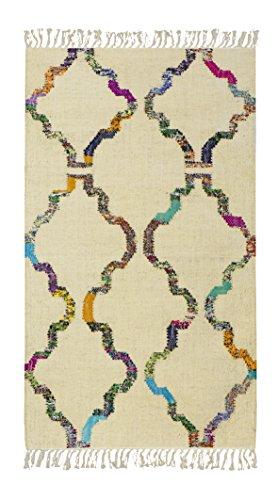 Jute & co. tappeto, passatoia kilim in cotone di alta qualità tessuto a mano, 100%, multicolore, 200x70x0.50 cm