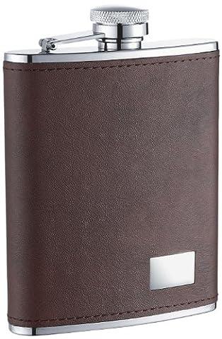6oz Dark Brown Leather Stainless Steel Liquor Flask